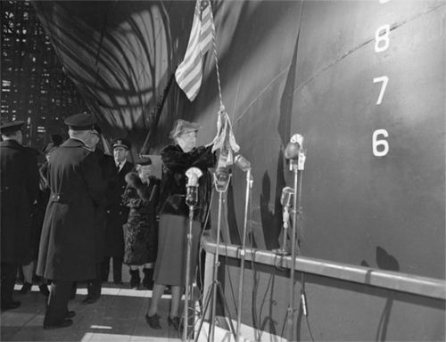 First Lady Roosevelt christens the USS Yorktown