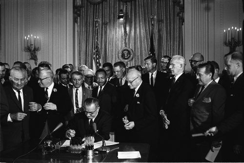 The Civil Rights Act of 1964 is signed into law