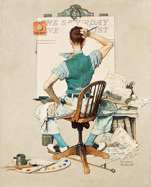 "Rockwell's Illustration ""Artist Facing Blank Canvas,"" published cover"
