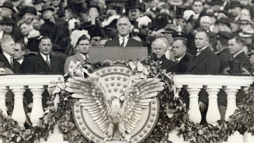 Franklin D. Roosevelt becomes the 32nd President of the United States of America