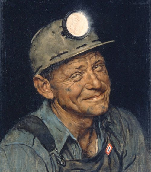 "Rockwell creates war poster ""Mine America's Coal,"" for the US Office of War Information"