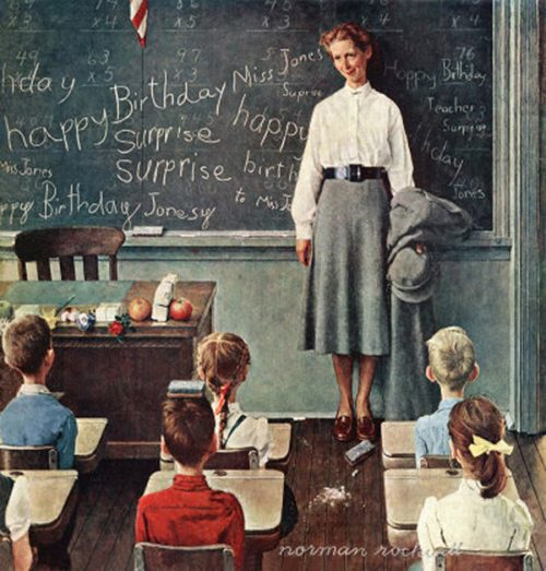 "Rockwell's Illustration ""Happy Birthday, Miss Jones!"" published cover"
