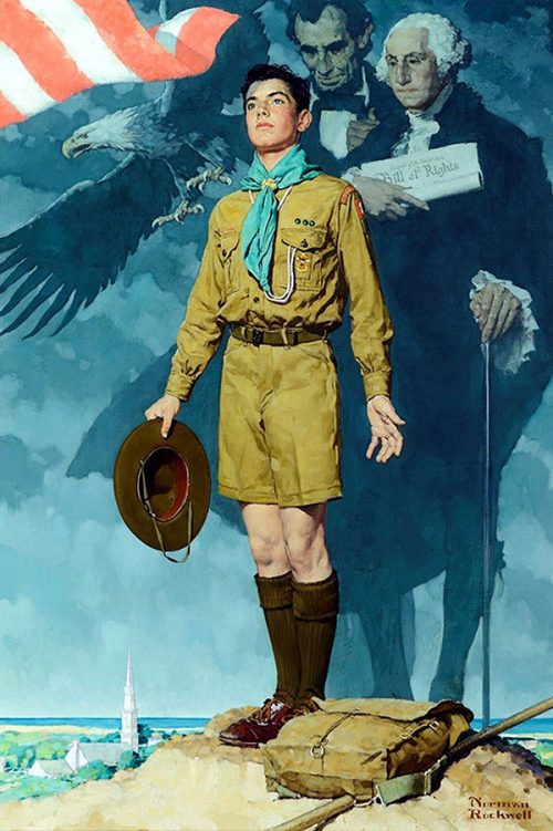 "Rockwell's ""A Scout is Loyal,"" in Boy Scout calendar"
