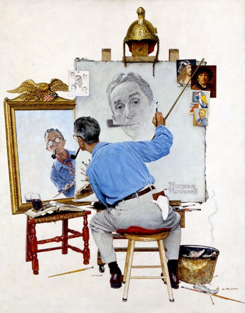 "Rockwell's ""Triple Self-Portrait,"" published cover"