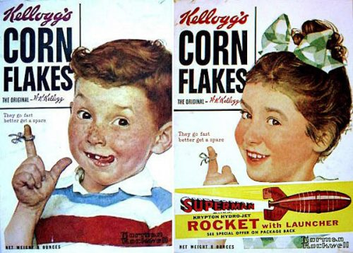 Rockwell begins a series of ads for Kellogg's corn flakes