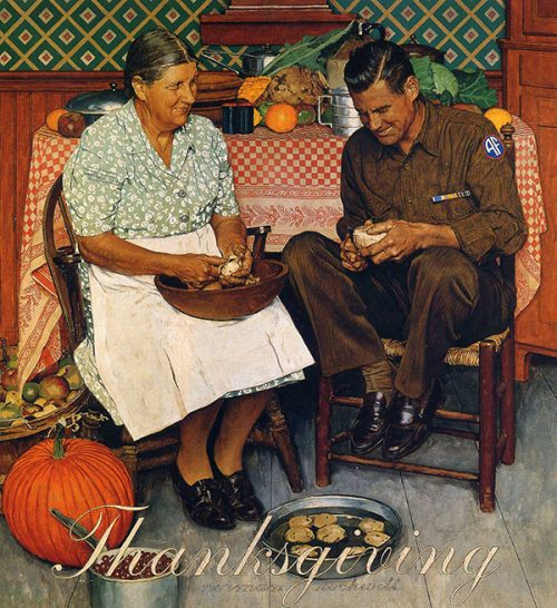 "Rockwell's Illustration ""Mother and Son Peeling Potatoes,"" published cover"