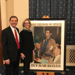 "Wyoming Senator John Barrasso and his wife with ""Freedom of Speech."""